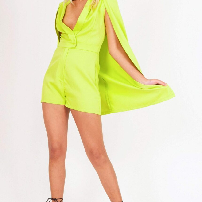 Green Plunge Cape Playsuit - 6