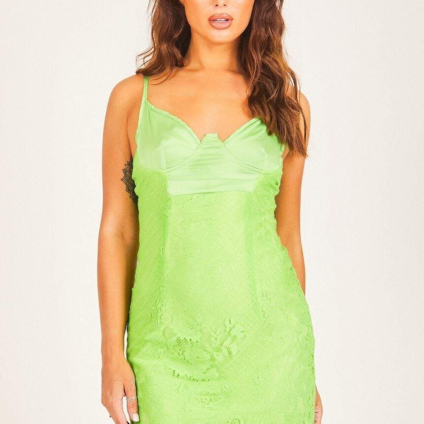 Green Satin Bustier Lace Bodycon Dress - 6