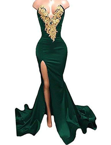 Gold Lace Sexy High Slit Mermaid Long Prom Dress Evening Gown Emerald Green US 2