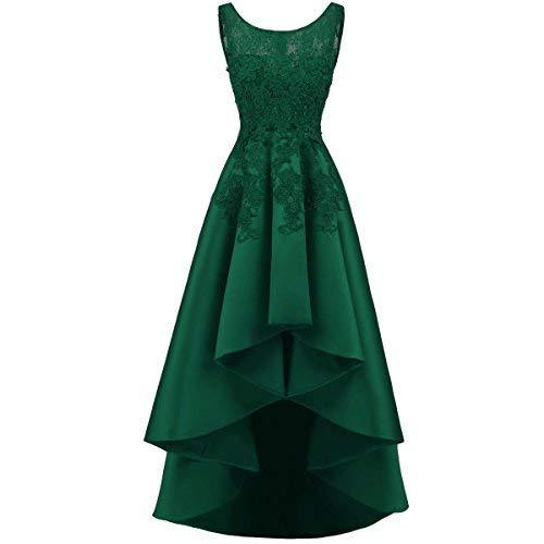 Kivary Illusion Beaded Lace High Low Prom Gown Homecoming Dress Emerald Green US