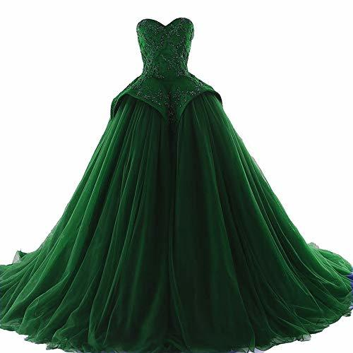 Kivary Plus Size Beaded Long Ball Gown Formal Prom Evening Dresses Emerald Green