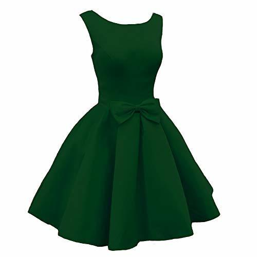 Lemai Scoop Neck Short Satin Formal Prom Homecoming Cocktail Dress Emerald Green