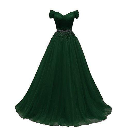 Off The Shoulder Beaded Long Tulle Prom Evening Dress Emerald Green US 6