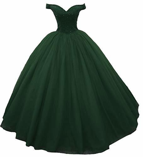 Off The Shoulder Heavy Beaded Ball Gown Prom Evening Dress Emerald Green US 4