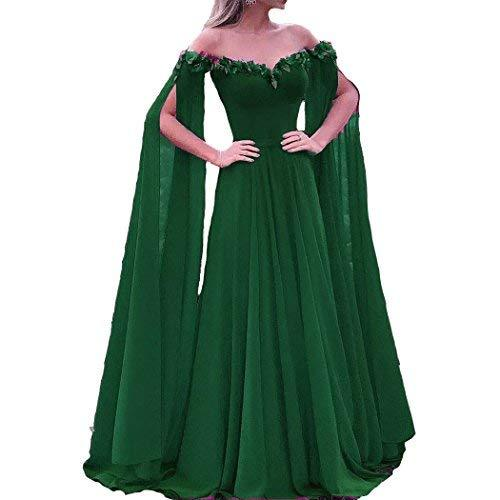 Off The Shoulder Long Sleeves Cape Prom Evening Dresses Emerald Green US 6