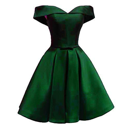 Off The Shoulder Short Satin Prom Homecoming Dress Cocktail Emerald Green US 2