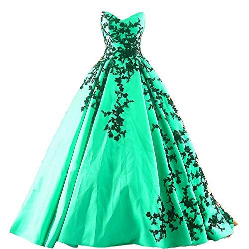 Plus Size Gothic Black Lace Long Ball Gown Prom Evening Dress Mint Green US 16W
