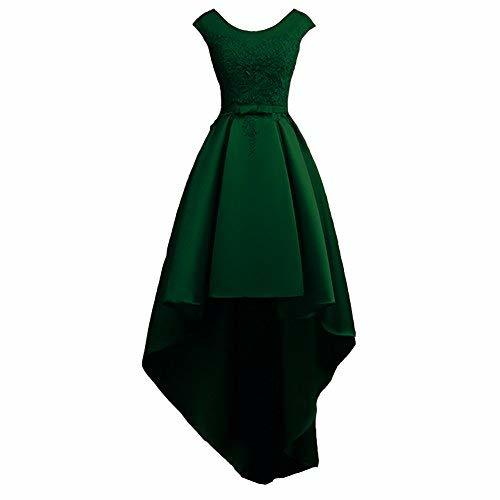 Scoop Neck Lace and Satin High Low Prom Homecoming Dress Emerald Green US 2
