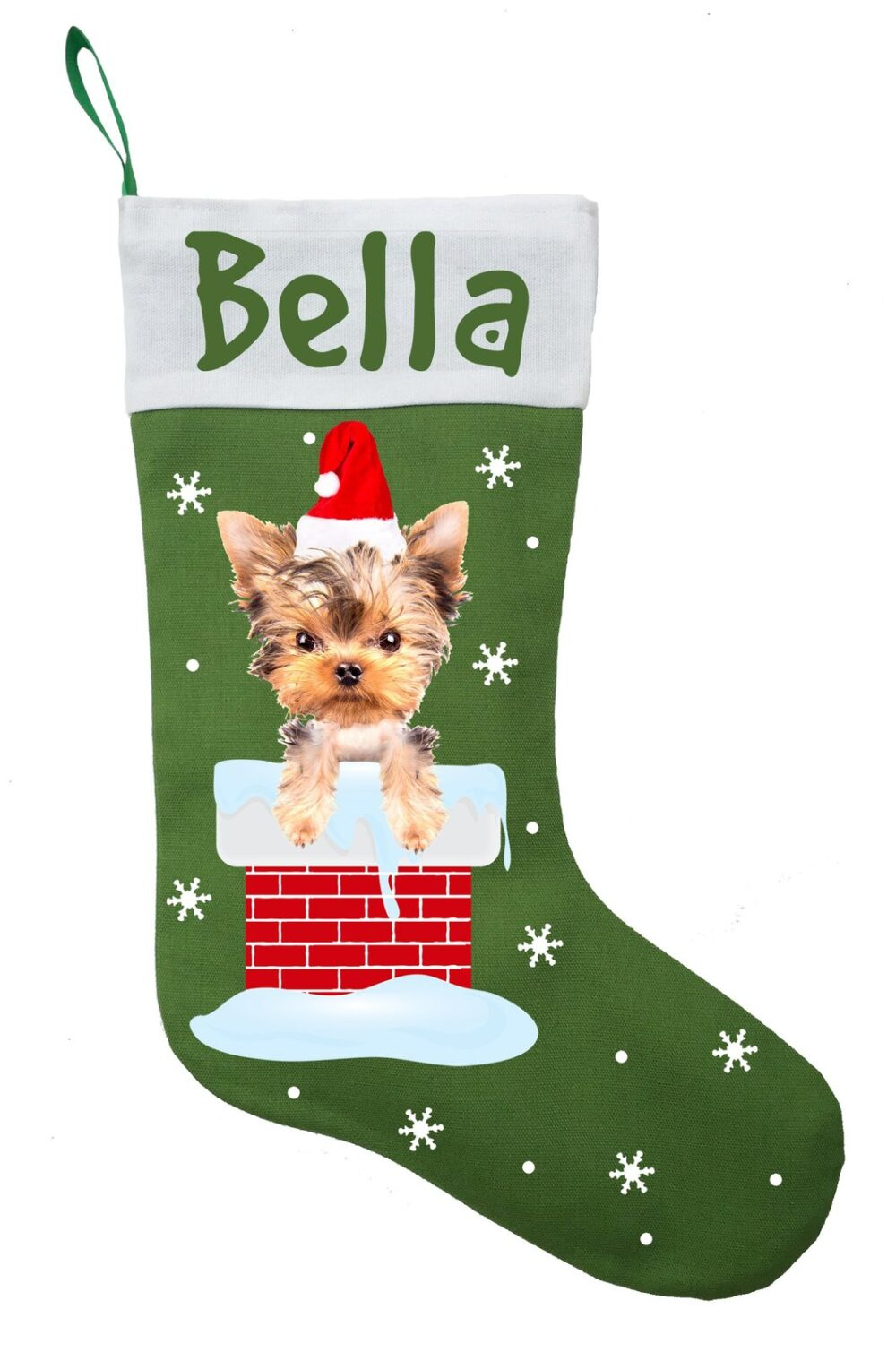 Yorkshire Terrier Christmas Stocking - Personalized Yorkie Stocking - Green